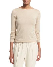 Long Sleeve Bateau-Neck Cashmere-Blend Top, Cream