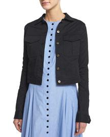 Cotton Twill Utility Jacket, Black
