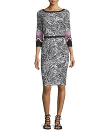 3/4-Sleeve Knit Paisley Sheath Dress, Black/White