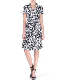 Short-Sleeve Floral-Print Wrap-Front Dress, Black/White