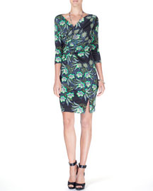 3/4-Sleeve Floral-Print Faux-Wrap Dress, Black/Green