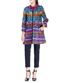 Woven Multicolor 3/4-Sleeve Jacket