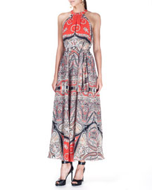 Paisley-Print Silk Tie-Waist Maxi Dress, Orange/Multi