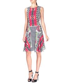 Sleeveless Geo Leaf-Print Dress, Red/Multi
