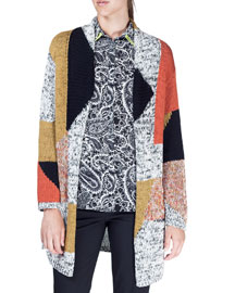Geometric Melange Knit Sweater, Ivory/Black/Gold/Multi