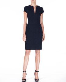 Short-Sleeve Split-Neck Jacquard Sheath Dress, Black