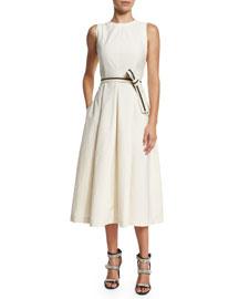 Sleeveless Cotton-Blend Midi Dress w/Grosgrain Belt, Butter