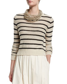 Striped Paillette-Embellished Silk-Blend Sweater, Butter