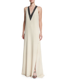 V-Neck Silk-Crepe Halter Gown, Butter
