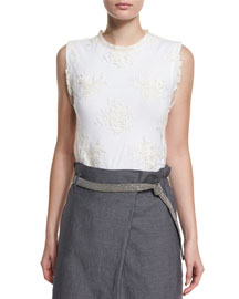 Jewel-Neck Lace-Overlay Tank Top, Butter