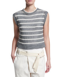 Striped Paillette-Embellished Sleeveless Sweater, Slate
