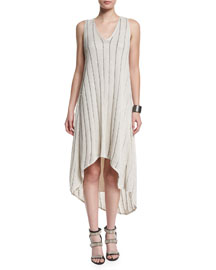 Sleeveless V-Neck Embellished Dress, Vanilla/Black