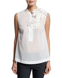 Sleeveless Embellished Trapeze Top, White