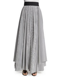 High-Waist Skinny-Stripe Skirt, White/Medium Gray