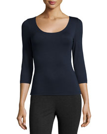 Stretch-Jersey Scoop-Neck Top, Navy
