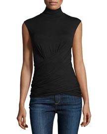 Sleeveless Stretch-Jersey Mock-Neck Top, Black
