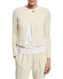 Cropped Knit One-Button Sweater, Butter