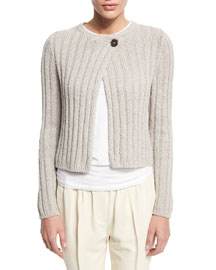 Cropped Knit One-Button Sweater, Aluminum
