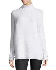 Melange Ribbed Turtleneck Sweater, Ivory