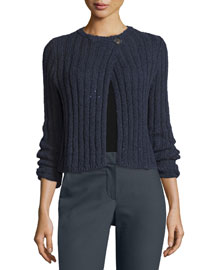 Ribbed Side-Button Cardigan, Navy
