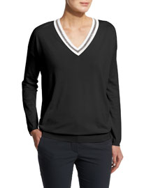 Long-Sleeve V-Neck Rugby Sweater, Black