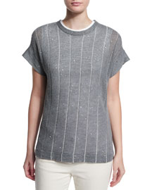 Striped Paillette-Embellished Short-Sleeve Sweater, Slate