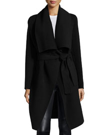 Double-Face Cashmere Clutch Coat, Black