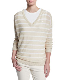 Striped Paillette-Embellished V-Neck Sweater, Butter/White