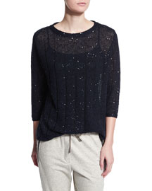 Paillette-Embellished 3/4-Sleeve Sweater, Navy