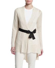 Paillette Knit Cardigan w/Contrast Belt, Butter