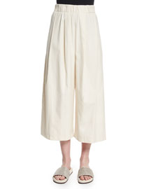 Cropped Wide-Leg Linen Pants, Cream