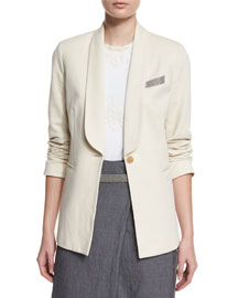 One-Button Monili-Trim Jacket, Vanilla