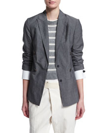 Notched Collar Wool/Linen Jacket, Charcoal