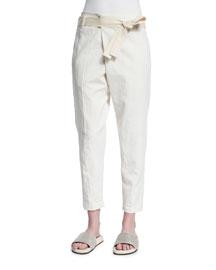 Cropped Linen-Blend Pants, Cream