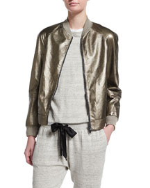 Metallic Leather Bomber Jacket, Military Gold