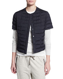 Quilted Silk Short-Sleeve Jacket, Navy