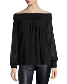 Stretch-Georgette Off-the-Shoulder Top, Black