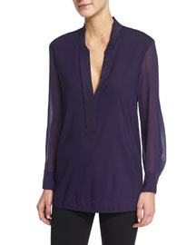 Stretch-Georgette Long-Sleeve Tunic, Purple