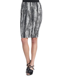 Textured Stretch-Jacquard Pencil Skirt, Multi