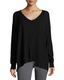 Stretch-Cashmere Oversized Sweater, Black