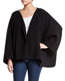 Boiled Cashmere-Blend Cape Sweater, Black