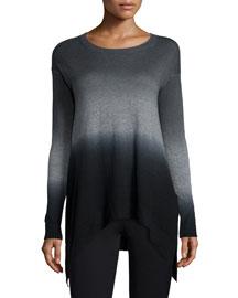 Ombre Cashmere Tunic Sweater, Black/Multi