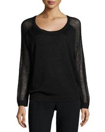 Raglan-Sleeve Cashmere Sweater, Black