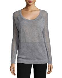 Raglan-Sleeve Cashmere Sweater, Gray