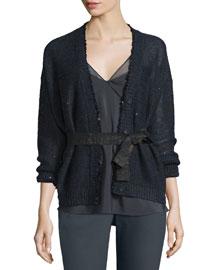 Belted Linen Paillette Cardigan, Black/Navy