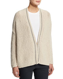 Chunky-Knit Wool-Blend Cardigan, Cream