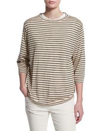 Striped Wool-Cashmere Pullover, Beige/Black