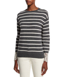 Striped 2-Ply Cashmere Sweater with Lace, Charcoal/White