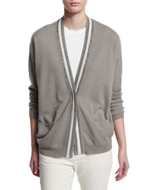 Rugby-Striped 2-Ply Cashmere Cardigan, Green