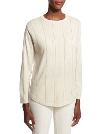 Striped 2-Ply Cashmere Sweater, Cream